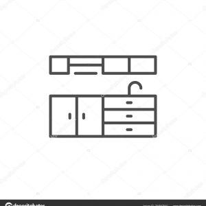 Kitchen furniture line icon isolated on white. Vector illustration